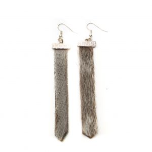 "Seal skin Earrings _CherylFennel_Snowfly_ Natural Grey _3.5""_01"