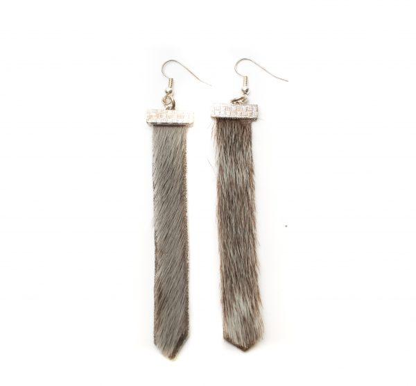 "Seal skin Earrings _CherylFennel_Snowfly_ Natural Grey _3.5""_01"