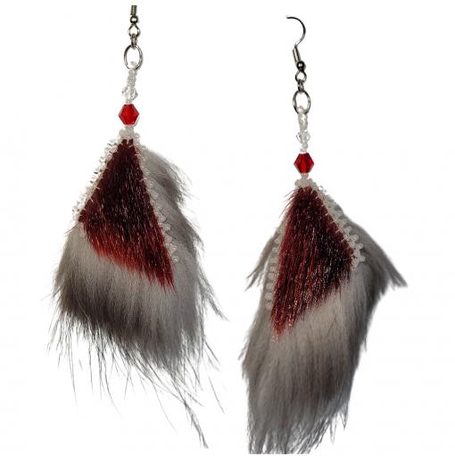 Little Red Sealskin Silve Fox Earrings_Taalrumiq_Christina King_01