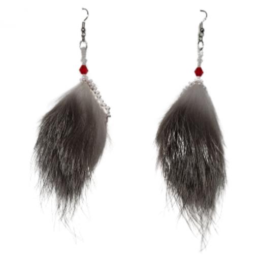 Little Red Sealskin Silve Fox Earrings_Taalrumiq_Christina King_02