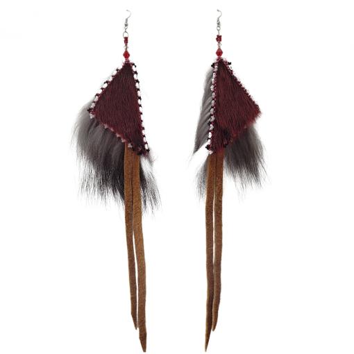 Red Seal Silver Fox Geometric Earrings_Taalrumiq_Christina King_01