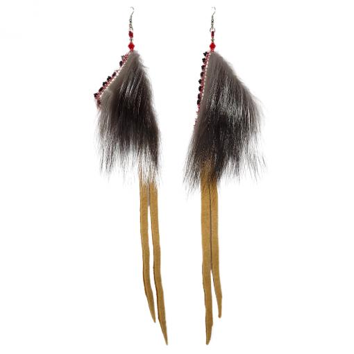 Red Seal Silver Fox Geometric Earrings_Taalrumiq_Christina King_02