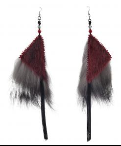 Red Sealskin Silver Fox Dangles Earrings_Taalrumiq_Christina King_01