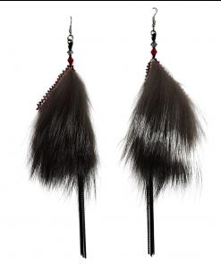Red Sealskin Silver Fox Dangles Earrings_Taalrumiq_Christina King_02