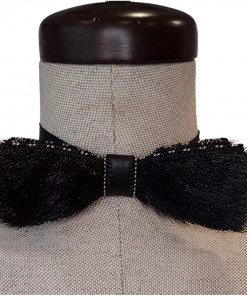 Black Sealskin Bowtie with alternating beads color by Christina King - Taalrumiq (1)