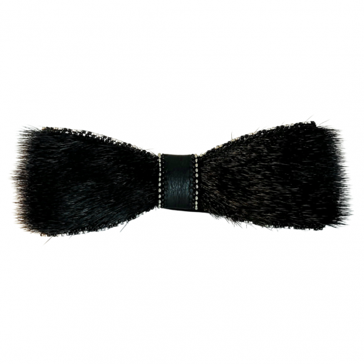 Black Sealskin Bowtie with alternating beads color by Christina King - Taalrumiq (2)