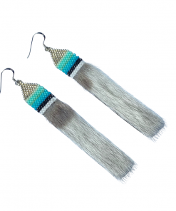 Arctic Silver Nights - Harp Seal & Delicas Seed Pendant Earrings 1