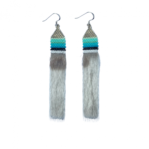 Arctic Silver Nights - Harp Seal & Delicas Seed Pendant Earrings 2